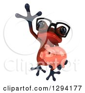 Clipart Of A 3d Bespectacled Red Springer Frog Leaping With A Piggy Bank Royalty Free Illustration