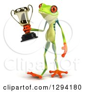 Clipart Of A 3d Argie Frog Walking Slightly To The Left And Holding A Trophy Royalty Free Illustration