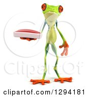 Clipart Of A 3d Argie Frog Holding A Beef Steak Royalty Free Illustration