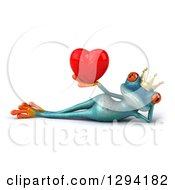 Clipart Of A 3d Turquoise Frog Prince Resting On His Side And Holding A Love Heart Royalty Free Illustration by Julos