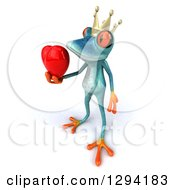 Clipart Of A 3d Turquoise Frog Prince Facing Left And Holding Out A Love Heart Royalty Free Illustration