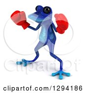 Clipart Of A 3d Blue Springer Frog Facing Slightly Left And Wearing Boxing Gloves Royalty Free Illustration by Julos