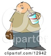 Chubby Balding Man Drinking Soda And Eating A Chocolate Donut Clipart Illustration