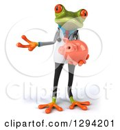 Clipart Of A 3d Green Doctor Springer Frog Presenting And Holding A Piggy Bank Royalty Free Illustration