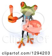 Clipart Of A 3d Green Doctor Springer Frog Holding Up A Thumb And A Piggy Bank Royalty Free Illustration