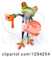 Clipart Of A 3d Green Doctor Springer Frog Holding Up A Thumb Down And A Piggy Bank Royalty Free Illustration