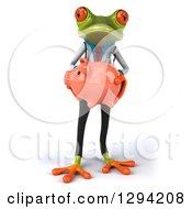 3d Green Doctor Springer Frog Holding A Piggy Bank
