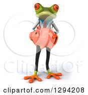 Clipart Of A 3d Green Doctor Springer Frog Holding A Piggy Bank Royalty Free Illustration