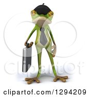 Clipart Of A 3d French Business Frog With A Briefcase Royalty Free Illustration
