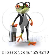 Clipart Of A 3d Bespectacled Green Business Springer Frog Walking With A Briefcase Royalty Free Illustration