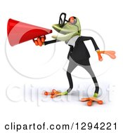 Clipart Of A 3d Bespectacled Green Business Springer Frog Facing Left And Announcing With A Megaphone Royalty Free Illustration
