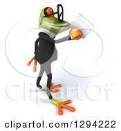Clipart Of A 3d Bespectacled Green Business Springer Frog Boss Facing Right And Drinking Coffee Royalty Free Illustration