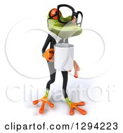Clipart Of A 3d Bespectacled Green Business Springer Frog Boss Facing Right Walking And Holding A Coffee Mug Royalty Free Illustration