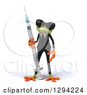 Clipart Of A 3d Green Business Springer Frog Wearing Sunglasses And Standing With A Vaccine Syringe Royalty Free Illustration