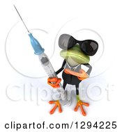 Clipart Of A 3d Green Business Springer Frog Wearing Sunglasses Looking Up And Pointing To A Vaccine Syringe Royalty Free Illustration