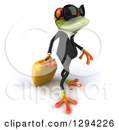 Clipart Of A 3d Green Business Springer Frog Wearing Sunglasses Walking Slightly Right And Pulling Rolling Luggage Royalty Free Illustration