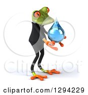 Clipart Of A 3d Green Business Springer Frog Facing Right And Holding A Water Drop Royalty Free Illustration