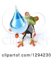Clipart Of A 3d Green Business Springer Frog Holding Up A Water Drop Royalty Free Illustration