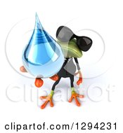 Clipart Of A 3d Green Business Springer Frog Wearing Sunglasses And Holding Up A Water Drop Royalty Free Illustration