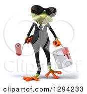 Poster, Art Print Of 3d Green Business Springer Frog Wearing Sunglasses And Holding A Paint Bucket And Roller Brush