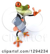 Clipart Of A 3d Green Business Springer Frog Looking Up Facing Right Holding A Cell Phone And Gesturing Call Me Royalty Free Illustration