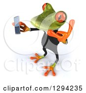 Clipart Of A 3d Green Business Springer Frog Looking Up Facing Left Holding A Cell Phone And Gesturing Call Me Royalty Free Illustration by Julos