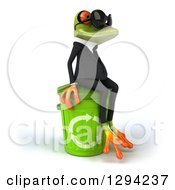 Clipart Of A 3d Green Business Springer Frog Wearing Sunglasses Facing Right And Sitting On A Recycle Bin Royalty Free Illustration