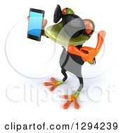 Clipart Of A 3d Green Business Springer Frog Wearing Sunglasses Facing Left Gesturing Call Me And Holding A Smart Cell Phone Royalty Free Illustration by Julos