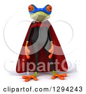 Clipart Of A 3d Green Super Hero Business Springer Frog Royalty Free Illustration
