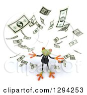 Clipart Of A 3d Green Business Springer Frog Looking Up And Making It Rain Cash Money Royalty Free Illustration