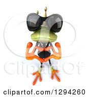 Clipart Of A 3d Green Business Springer Frog Prince Wearing Sunglasses Looking Up And Forming A Heart With His Hands Royalty Free Illustration