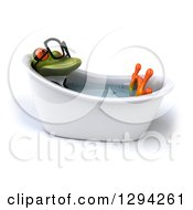 Clipart Of A 3d Bespecacled Green Business Springer Frog Soaking In A Bath Tub Royalty Free Illustration