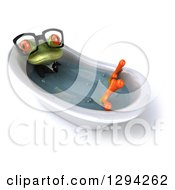 Clipart Of A 3d Bespecacled Green Business Springer Frog Soaking In A Bath Tub 2 Royalty Free Illustration
