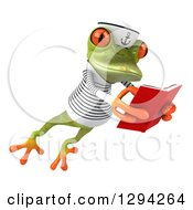 Clipart Of A 3d Green Springer Frog Sailor Leaping To The Right And Reading A Book Royalty Free Illustration