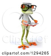 Clipart Of A 3d Bespectacled Green Springer Frog Sailor Facing Slightly Right And Reading A Book Royalty Free Illustration