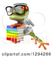 Clipart Of A 3d Bespectacled Green Springer Frog Sailor Leaping To The Left With A Stack Of Books Royalty Free Illustration