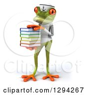 Clipart Of A 3d Green Springer Frog Sailor With A Stack Of Books Royalty Free Illustration
