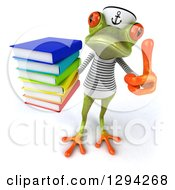 Clipart Of A 3d Green Springer Frog Sailor Holding Up A Thumb And A Stack Of Books Royalty Free Illustration by Julos