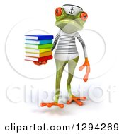 Clipart Of A 3d Green Springer Frog Sailor Walking With A Stack Of Books Royalty Free Illustration by Julos