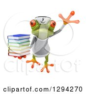 Clipart Of A 3d Green Springer Frog Sailor Leaping With A Stack Of Books Royalty Free Illustration by Julos