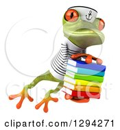 Clipart Of A 3d Green Springer Frog Sailor Leaping Slightly To The Right With A Stack Of Books Royalty Free Illustration by Julos