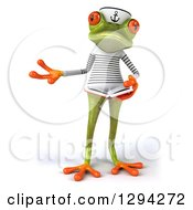 Clipart Of A 3d Green Springer Frog Sailor Presenting And Holding An Open Book Royalty Free Illustration by Julos
