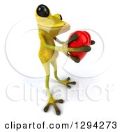 Clipart Of A 3d Light Green Springer Frog Facing Right And Holding Out A Love Heart Royalty Free Illustration
