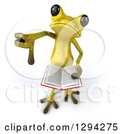 Clipart Of A 3d Light Green Springer Frog Looking Up Giving A Thumb Down And Holding A Book Royalty Free Illustration by Julos