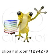 Clipart Of A 3d Light Green Springer Frog Leaping With A Stack Of Books Royalty Free Illustration by Julos