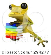 Clipart Of A 3d Light Green Springer Frog Leaping Slightly To The Left With A Stack Of Books Royalty Free Illustration by Julos