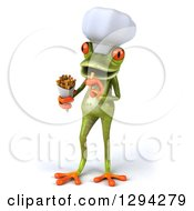 Clipart Of A 3d Green Springer Frog Chef Eating French Fries Royalty Free Illustration