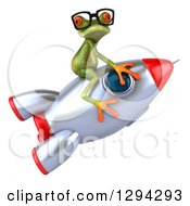 Clipart Of A 3d Bespectacled Green Springer Frog Riding A Rocket Royalty Free Illustration