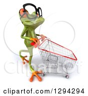 Clipart Of A 3d Bespectacled Green Springer Frog Pushing A Shopping Cart To The Right Royalty Free Illustration