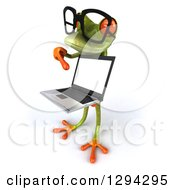 Clipart Of A 3d Bespectacled Green Springer Frog Facing Left And Presenting A Laptop Computer Royalty Free Illustration